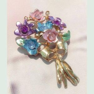Vintage Flower Bouquet Pin Brooch